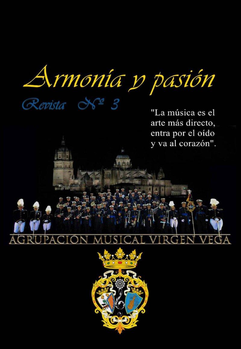 Muestra portada del tercer nº de la revista Armonía y Pasión de la Agrupación Musical Virgen de la Vega (Salamanca)