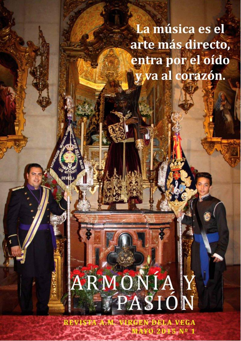 Muestra portada del primer nº de la revista Armonía y Pasión de la Agrupación Musical Virgen de la Vega (Salamanca)