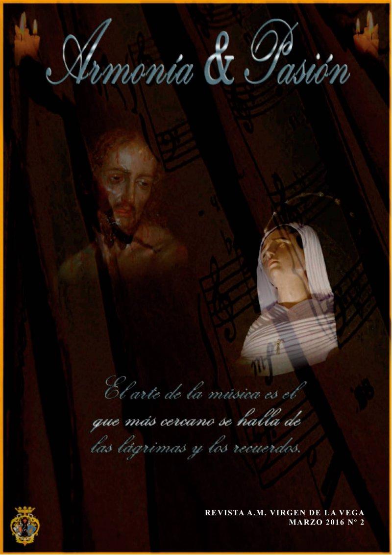 Muestra portada del segundo nº de la revista Armonía y Pasión de la Agrupación Musical Virgen de la Vega (Salamanca)